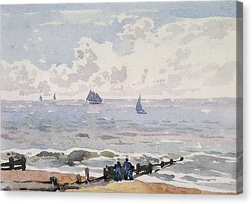 Seascape From The Beach Canvas Print by Thomas Churchyard