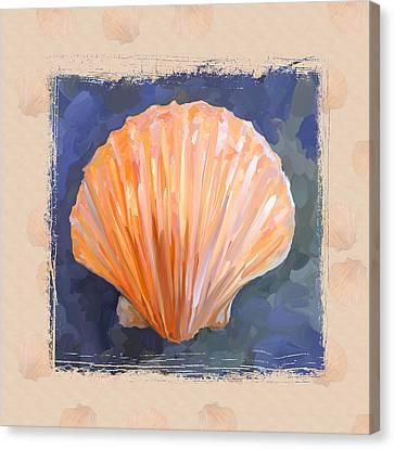 Seashell I Grunge With Border Canvas Print by Jai Johnson