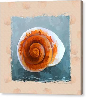 Seashell II Grunge With Border Canvas Print by Jai Johnson