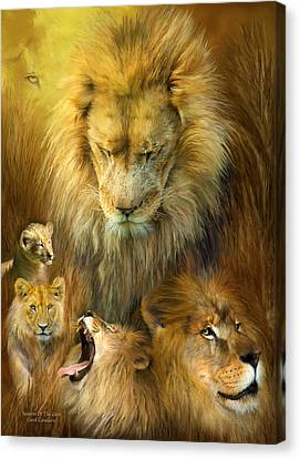 Seasons Of The Lion Canvas Print by Carol Cavalaris