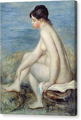 Seated Bather Canvas Print by Renoir