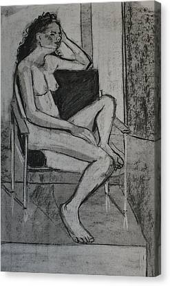 Seated Female Canvas Print by Joanne Claxton