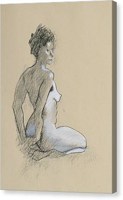 Seated Nude Canvas Print by Robert Bissett