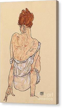 Seated Woman In Underwear Canvas Print by Egon Schiele