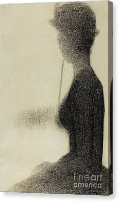 Seated Woman With A Parasol  Canvas Print by Georges Pierre Seurat