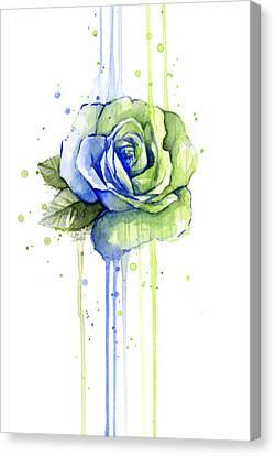 Seattle 12th Man Seahawks Watercolor Rose Canvas Print by Olga Shvartsur