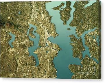 Seattle 3d Landscape View North-south Natural Color Canvas Print by Frank Ramspott