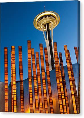Seattle Center Twilight Canvas Print by Thorsten Scheuermann