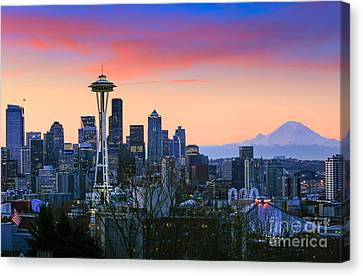 Seattle Waking Up Canvas Print by Inge Johnsson