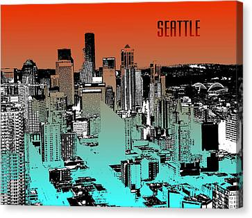 Seattle Downtown Skyline - Red Blue Canvas Print by Art America Online Gallery