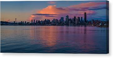 Seattle Dusk Skyline Details Reflection Canvas Print by Mike Reid
