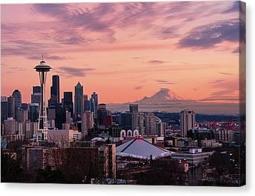 Seattle In Pink Canvas Print by Aaron Eakin