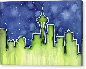 Seattle Night Sky Watercolor Canvas Print by Olga Shvartsur