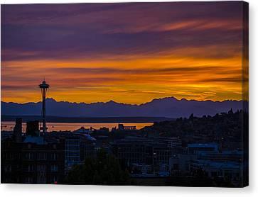 Seattle Olympic Mountain Range Sunset Canvas Print by Pelo Blanco Photo