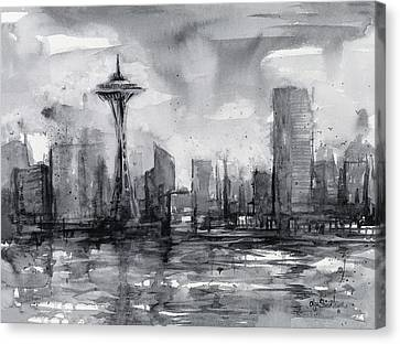 Seattle Skyline Painting Watercolor  Canvas Print by Olga Shvartsur