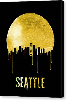 Seattle Skyline Yellow Canvas Print by Naxart Studio
