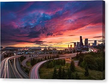 Seattle Summer Sunset Canvas Print by Thorsten Scheuermann