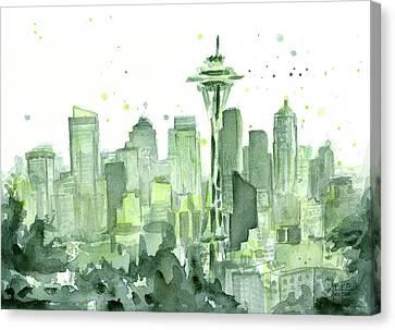Seattle Watercolor Canvas Print by Olga Shvartsur