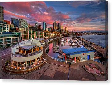 Seattle Waterfront At Sunset Canvas Print by Photo by David R irons Jr