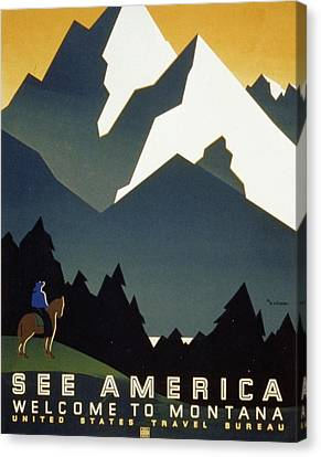 See America Welcome To Montana Canvas Print by M Weitzman