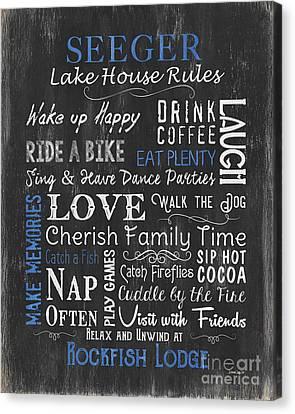 Seeger Lake House Rules Canvas Print by Debbie DeWitt
