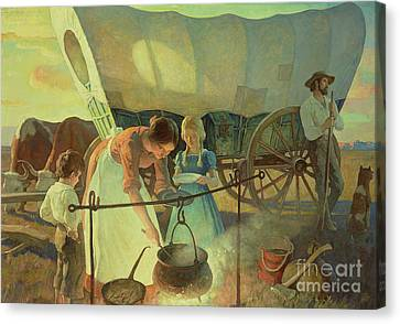 Seeking The New Home Canvas Print by Newell Convers Wyeth
