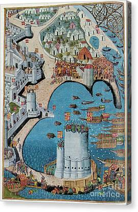 Seige Of Tower Of Saint Nicolas Canvas Print by Photo Researchers