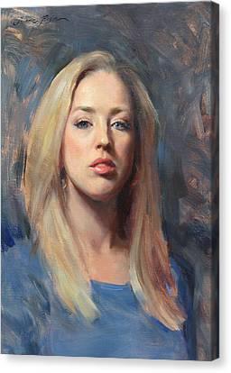 Self Portrait At 30 Canvas Print by Anna Rose Bain