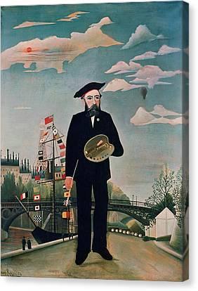 Self Portrait From Lile Saint Louis Canvas Print by Henri Rousseau