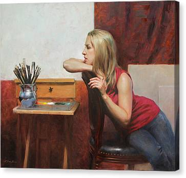 Self Portrait In The Studio Canvas Print by Anna Rose Bain