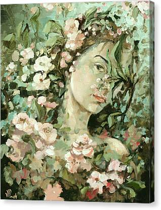 Self Portrait With Aplle Flowers Canvas Print by Vali Irina Ciobanu