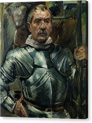 Self-portrait With Harness Canvas Print by Lovis Corinth