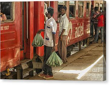 Selling Fruit To Train Passengers Canvas Print by Patricia Hofmeester