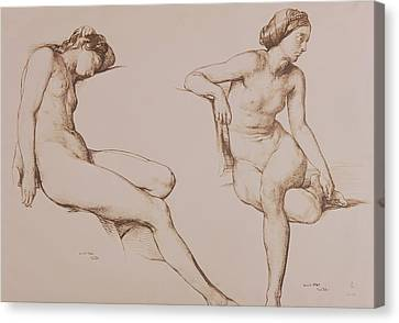 Sepia Drawing Of Nude Woman Canvas Print by William Mulready