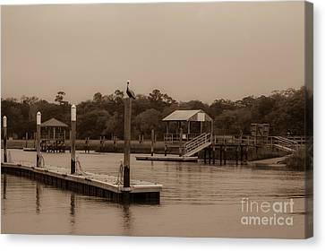 Sepia Of Shem Creek Canvas Print by Dale Powell