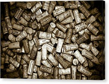 Sepia Wine Corks Canvas Print by Frank Tschakert