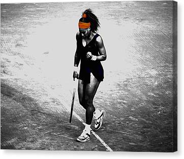 Serena Williams Match Point 3a Canvas Print by Brian Reaves