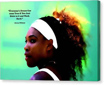 Serena Williams Motivational Quote 1a Canvas Print by Brian Reaves