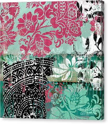 Serendipity Damask Batik II Canvas Print by Mindy Sommers