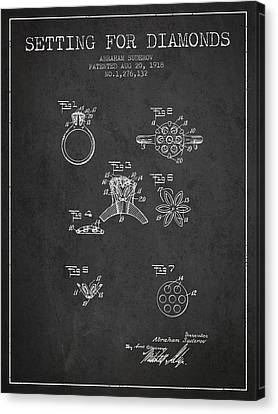 Setting For Diamonds Patent From 1918 - Charcoal Canvas Print by Aged Pixel