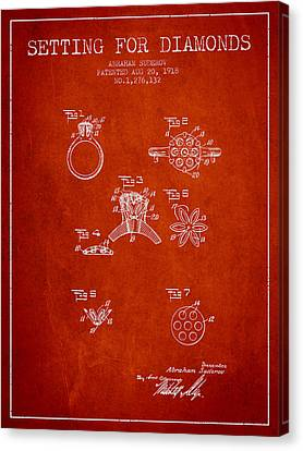 Setting For Diamonds Patent From 1918 - Red Canvas Print by Aged Pixel
