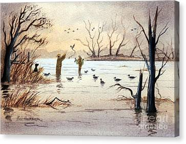 Setting The Decoys II Canvas Print by Bill Holkham