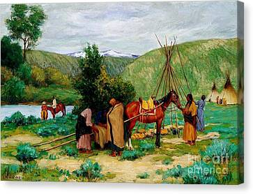Setting Up Camp - Little Big Horn Canvas Print by Pg Reproductions