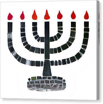 Seven-branched Temple Menorah Canvas Print by Christine Till