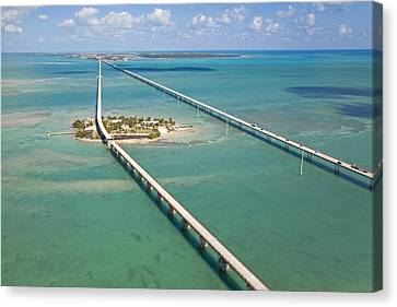 Seven Mile Bridge Crossing Pigeon Key Canvas Print by Mike Theiss