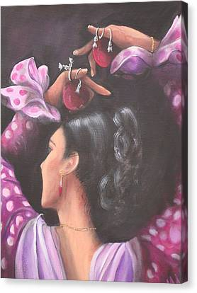 Seville Flamenco Dancer Canvas Print by Marlyn Anderson