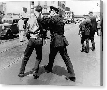 Sf Striker Arrested Canvas Print by Underwood Archives
