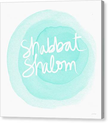 Shabbat Shalom Sky Blue Drop- Art By Linda Woods Canvas Print by Linda Woods