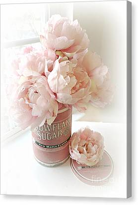 Shabby Chic Pink Pastel Peach Peonies Vintage Romantic Floral Decor Canvas Print by Kathy Fornal