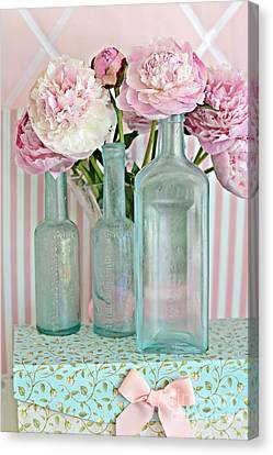 Shabby Chic Pink White Aqua Peonies With Vintage Aqua Bottles - Romantic Shabby Chic Peonies Canvas Print by Kathy Fornal